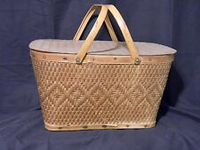 Red Man Wood Picnic Basket Woven With Press Board Lid & Metal Handles
