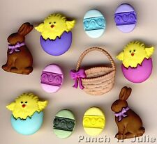 EASTER BASKET Chocolate Egg Bunny Rabbit Spring Chicks Dress It Up Craft Buttons