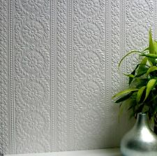 Anagylpta Townsend White Paintable Wallpaper - Floral Stripe Embossed - 10m Roll