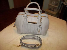 JESSICA SIMPSON BEIGE FAUX LEATHER CHEETAH INTERIOR PRINT SATCHEL CROSSBODY BAG