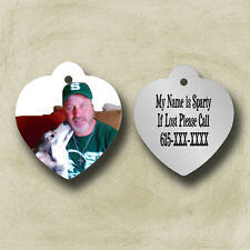 Personalized Custom ID Tag Heart Photo Pet  Dog Cat