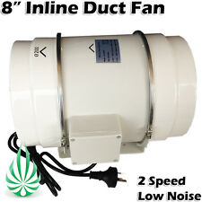 """LOW NOISE HYDROPONICS VENTILATION EXHAUST 2 SPEED 8"""" 200MM DUCT FAN EXTRACTOR"""