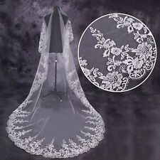 High quality 1T Cathedral Veil Ivory Lace Wedding Veil Long Bridal Lace Mantilla