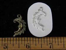 Crescent Moon Face / Leaves (Small) Polymer Clay Mold (#MD1261)