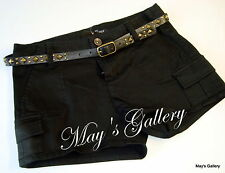 GUESS Jeans Belt  Mini  Shorts Short Pant  Pants Cargo Black   NWT Sz 25