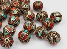 5 X tibetische Korallen Türkis Perlen Tibet Nepal Turquoise Coral brass Beads -J