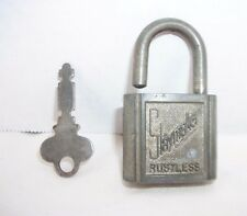 "Vintage Art Deco ""Slaymaker Lock Co."" Rustless Padlock and Key"
