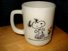 Vintage Fire King Snoopy Woodstock At Times Life is Pure Joy Milk Glass Mug