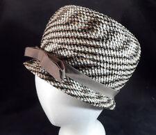 """Vintage Lucila Mendez Cloche Hat -- Gold, White, Black -- 21 1/2"""" -- Exc Cond!"""