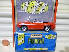Matchbox 1997 Premiere World Class #20 1969 CHEVROLET CAMARO SS 396 Nu in MintBx