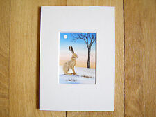 ACEO MOUNTED WATERCOLOUR PAINTING SARAH FEATHERSTONE, HARE UNDER EVENING SKY