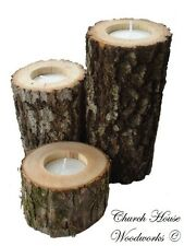 3 tree branch candle holders, rustic weddings, country decor, cabins, log