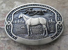 Thoroughbred Race Horse Racing Gambling Tony Lama Brass Vintage Belt Buckle