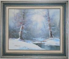 """LANDSCAPE OIL ON CANVAS PAINTING SIGNED R. THOMAS 16"""" X 20"""" / 22' x 26"""" framed"""