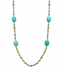 LAUREN Ralph Lauren Turquoise Station Bead Rosary Gold-Plated Long Necklace
