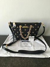 Moschino Couture $690 Black Quilted Gold Chain Cross body Bag ! NWT !!