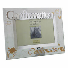 """Glass 6"""" x 4"""" Photo Frame Glass & Glitter Letters - Confirmation"""