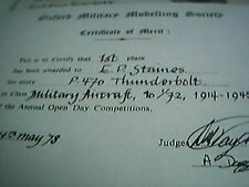 certificate oxford military modelling society club award staines 1st 1978