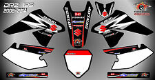 suzuki drz125 decals graphics laminated stickers motocross mx 125 black 08 -14