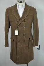 40R NEW Carlos Castillo $1095 Men's Brown Check Tweed Wool SLIM Overcoat Jacket