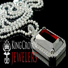 Real Silver Mens Celebrity Pendant White Gold Finish Princess Cut Lab Ruby Charm