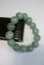 Natural Grade A light green  jade 10 mm beaded stretchy bracele(14 beads)