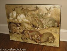 BiG BUNNY RABBIT Wood Wall/Mantel/Nursery PICTURE*Primitive/French Country Decor