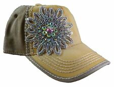 Olive and Pique Super Bling Ball Cap! Beautiful Glass Beaded Handmade Flower