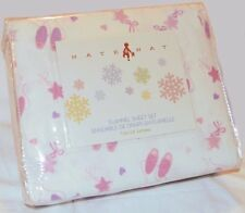 NATE & NAT Ballerina COTTON FLANNEL TWIN SHEET SET NEW Pink Purple