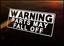 Advertencia piezas caen coche Vinilo calcomanía vehículo Bicicleta Gráfico calcomanía Funny
