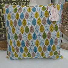 CUSHION COVER COTTON FABRIC CHRISTMAS TURQUOISE DUCK EGG BLUE LEAF MULTI STEM  :