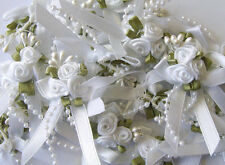 Triple Trio Roses Satin Ribbon Posy Bows Clusters With Pearls Beads