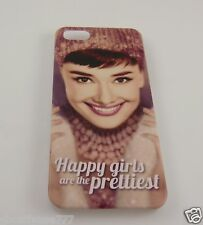 for Iphone 5 phone case back cover Audrey Hepburn Happy girls are the prettiest