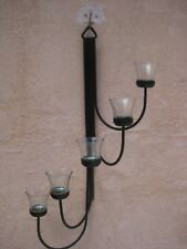 Metal Black Wrought Iron 5 Votive Candle Holder Wall Sconce Tea Light 25""