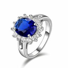 Jewelry Size 6 Womens Solitaire Blue Topaz 10KT Gold Filled Wedding Fashion Ring