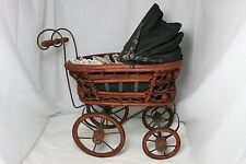 Vintage Baby Doll Pram Carriage Stroller Wicker and Original Canvas Wood Wheels