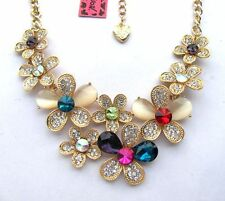 Betsey Johnson Brilliant multicolor crystal glass Flowers gathered Necklace#324L
