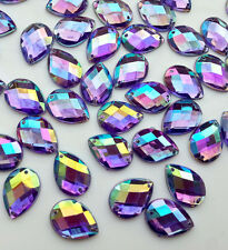 100PCS PURPLE AB 13X18MM TEARDROP SEW ON ACRYLIC CRYSTAL RHINESTONES FLATBACK