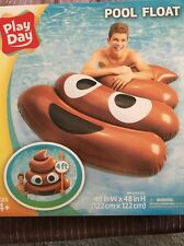 "Large Pool Float POOP EMOJI Raft Inflatable Water Toy Tube Lounge 48"" X 48"" NIB"