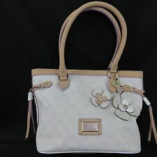 Guess Persuasion Chalk Carryall Flowers White Tan Leather Bag Purse Handbag