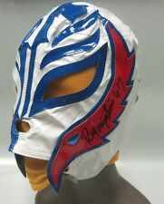 Autographed Rey Mysterio Mask, WWE WCW WWF ECW AAA Signed Wrestling, White Blue