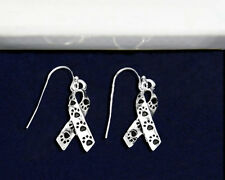 Sterling Silver-Plated Ribbon Paw Print Earrings - 100% of SALE BENEFITS RESCUE