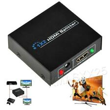 UK 1080P 1 In 2 Out HDMI Splitter Amplifier 2 Way Switch Box Hub 1x2 HDTV PS3