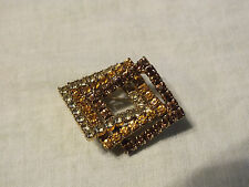 Beautiful Brooch Pin Gold Tone Filled Yellow Gold Amber Rhinestones 1 5/8x1 3/8""