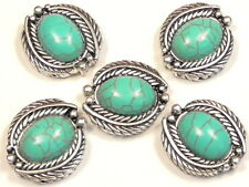 """5 - 2 HOLE SLIDER BEADS 7/8"""" FEATHER FRAMED OVAL TURQUOISE CABS WESTERN CONCHO"""
