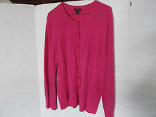 Prive Women's Cashmere Cardigan Button Hot Pink Sweater Size XL