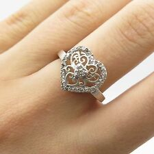 925 Sterling Silver Real Diamond Heart Ring Size 7