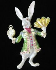 Mint KIRKS FOLLY Alice in Wonderland White Bunny Rabbit Rhinestone Enamel Pin