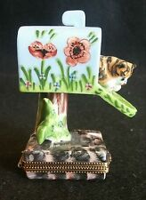 LIMOGE BOX MAILBOX WITH CAT LIMITED EDITION MADE IN FRANCE