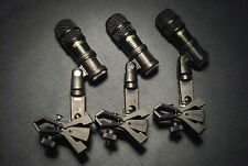 3 Nady DM70 Dynamic Drum Microphones w/ Audix DFlex Rim Clamps Clips Tom Snare